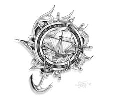 Anchor Tattoo Drawings | Tattoo Design : Ship, Anchor and ropes by ~Drocel on deviantART