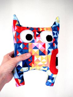 Geometric Teddy Monster  Softie Plush Doll Colorfull  by cronopia6, $14.00