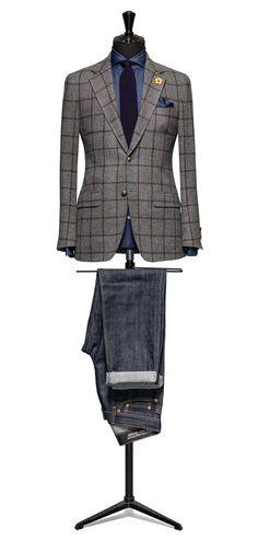 Grey jacket Windowpane green http://www.tailormadelondon.com/shop/tailored-jacket-fabric-7805-check-grey/