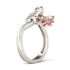 Jeulia Crown Two Tone Round Cut Created White Sapphire Frog Ring