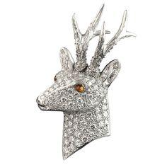 Pavé Diamond Stag's Head Brooch
