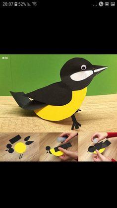 icu ~ Aplicēšana ~ This Pin was discovered by suzan bilto. Bird Crafts Preschool, Preschool Activities, Paper Birds, Felt Birds, Projects For Kids, Crafts For Kids, Paper Art Design, Paper Animals, Paper Crafts Origami