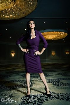 Pinup Couture Lorelei Dress in Plum Bengaline, love it!!