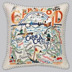 Celebrate the wonders for the Cape! This Cape Cod pillow is piped with blue & white ticking and has matching buttons on the back. Size is 19 Cape Cod Ma, Cape Cod Style, Cod Dishes, Buzzards Bay, Fall Harvest, The Fresh, Decorative Throw Pillows, Needlepoint, Handmade