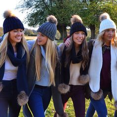 ce086381b0b Country walks with best of friends in Amelia Jane London pom pom hats and  scarves.