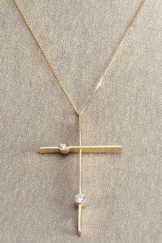 FB Jewels 14K Yellow Gold Mini Cross with Center Circle Pendant