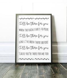 Friends theme song I'll be there for you Friends tv show central perk friends poster friends gift Rachel Monica Ross Joey Chandler Phoebe Friends Theme Song, Friends Poster, Friends Tv Quotes, Serie Friends, Friends Episodes, Friend Birthday Gifts, Happy Birthday, Cool Wall Art, Tv Decor