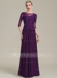 A-Line/Princess Scoop Neck Floor-Length Chiffon Lace Mother of the Bride Dress With Ruffle Beading Sequins (008107652) - Mother of the Bride Dresses - JJsHouse