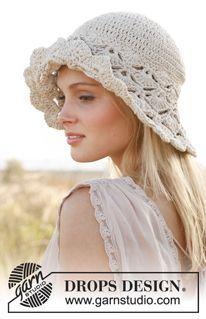 """Dune hat - Sombrero en ganchillo DROPS con patrón en punto de abanico, en """"Muskat"""". - Free pattern by DROPS Design"""