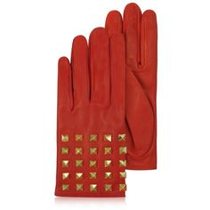 Valentino Garavani Rockstud Red Leather Gloves w/ Silk Lining ($618) ❤ liked on Polyvore