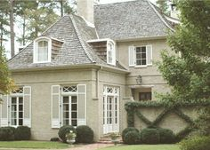 New exterior brick house colors french country shutters ideas Architecture Design, Residential Architecture, French Cottage, French Country House, Brick House Colors, Roof Colors, Country Landscaping, The Ranch, New Construction