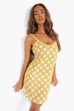 Polka Dot Frill Trim Strappy Slip Dress Maxis, Plain Tees, Straight Dress, Bodycon Fashion, Fashion Face Mask, Yellow Dress, Cheap Dresses, Dress Collection, Casual Looks