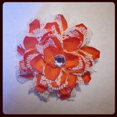 Orange and White Flower hair clip 347 $3