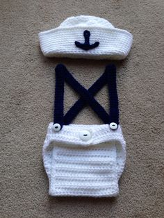 Newborn Crochet Sailor Set Girl or Boy Photo Prop Made to Order