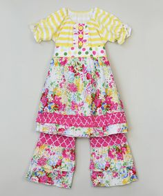 Look at this Yellow & Pink Floral Tunic & Pants - Infant, Toddler & Girls on #zulily today!