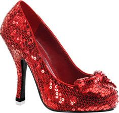 Dorothy has grown up, in these sexy red pumps, with sequins and bow on upper, and a 4 1/2  heel. #dorothy #justforfun