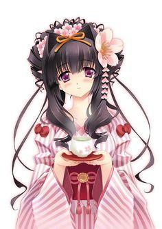 Anime girl. Kimono girl.