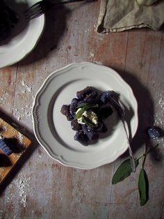 Purple Potato Gnocchi with Buttery Sage & Garlic Purple Potatoes, Lemon Wedge, Potato Mashers, Fresh Garlic, Vegan Butter, Gnocchi, A Food, Sage, Stuffed Peppers