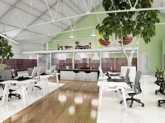 Office design ideas for a brighter workplace with eco-friendly furniture and colors. #officedesign