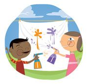 Create an Outdoor Art Studio. Postpone laundry day and use your clothesline for an activity young artists. In lieu of brushes and paper, they get to use pump bottles filled with homemade spray paints and cloth canvases (pieces of an old bedsheet). Thank you Disney Family Fun for this idea!