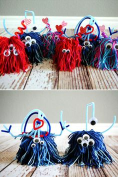 Best Valentine's Day Crafts for Kids Lil Love Monsters Kids go crazy for these funky love monsters! Don't worry — they're nice monsters, of course. Check out the full instructions at eighteen25.com.  Shop the supplies:  1. Caron Cakes Cherry Chip Yarn, $8, michaels.com  2. Creativity Street Pipe Cleaners, $5, amazon.com  3. Peel-and-Stick Wiggle Eyes, $5, amazon.com