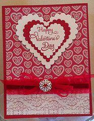 Layered heart Valentine card
