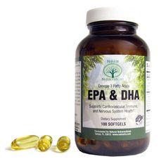 EPA & DHA Omega 3 Fish Oil  Each capsule contains a total of 1,000 mg of purified fish oil concentrate distilled from fresh, cold water sources and tested for PCBs, dioxins and heavy metals. Provides DHA in addition to EPA, which is needed for adequate brain function and development. Supports heart health and helps normalize cholesterol triglyceride levels.