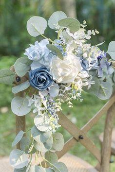 wedding flowers Chair Decoration - Set of 2 - Rustic Marsala Blue Wedding Flowers, Wedding Flower Arrangements, Bridal Flowers, Bridal Bouquets, Blue Wedding Colors, Wedding Flower Bouquets, Brooch Bouquets, Floral Arrangements, French Blue Wedding