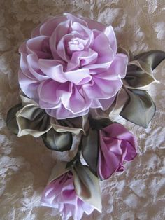 Millinery Ribbonwork Wedding Corsage Flower Pin.