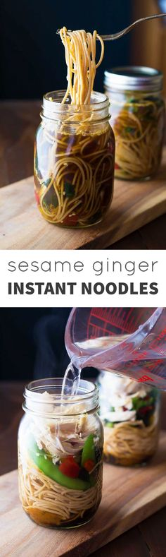 Healthy Sesame Ginger Instant Noodles--just add water! A healthy make-ahead lunch recipe made with whole wheat spaghetti, real vegetables and shredded chicken.