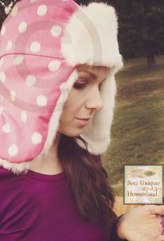 Warm Winter Hats, Trapper Hats, Rabbit Fur, Pink Polka Dots, Real Women, Homestead, Sewing, Trending Outfits, Handmade Gifts