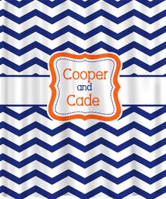Where were these for the YEAR I spent looking for the perfect shower curtain for the kids?!  These will be the FIRST thing I buy when the kids have separate baths! LOVE LOVE LOVE!!!  Personalized Shower Curtain - Chevron - shown here in navy, orange, red with accents- any color. $78.00, via Etsy.