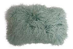One Kings Lane - Collected & Curated - Mongolian 12x20 Lamb Fur Pillow, Ice