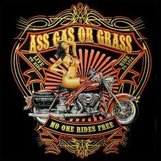 """Biker Hoodie - """"Ass Gas Or Grass"""" Motorcycle Sweatshirt (Black)"""