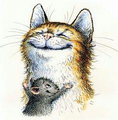 Doodle Drawings, Cartoon Drawings, Animal Drawings, Cute Drawings, Goodbye Kitty, Velvet Painting, Mouse Illustration, Puppies And Kitties, Happy Paintings