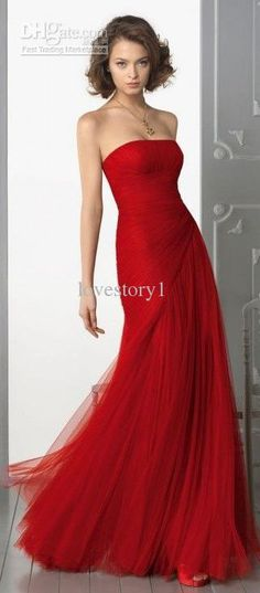Wholesale Evening Dress - Buy Hot Sale Charming Red Tulle Floor Length Evening Dress Strapless Long Modern Prom Party Dress Wedding Prom Par...