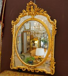 A French 19th century gilded wood and plaster .>> For sale on Proantic by chenal et Gaubert antique  #Mirror  #19th  #french