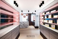 Reimann Interior & Design I Haut- und Laserzentrum Bavaria - Calacatta… Office Interior Design, Office Interiors, Interior Styling, Interior Decorating, Interior Designing, Corporate Design, Retail Design, Retail Trends, Retail Architecture