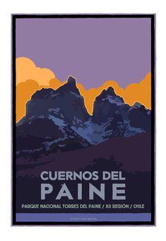 Póster Cuernos del Paine  por Ilustrador JotaLillo / Cuernos del Paine National Park poster by JotaLillo Ilustrator
