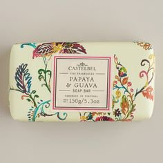 CASTELBEL PAPAYA-GUAVA BAR SOAP PD  Love the combination of exotic and colorful watercolor pattern with classic/vintage looking text panel...