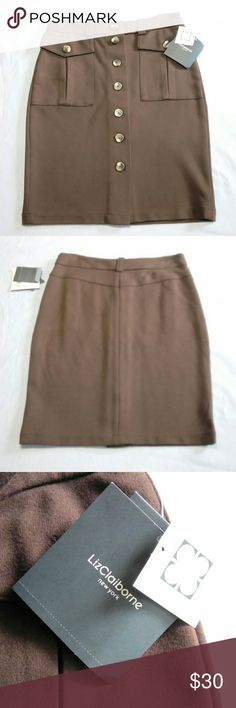"""NWT Liz Claiborne New York Skirt This Brown pencil skirt by Liz Claiborne New York is a size small and made of 74% rayon 25% nylon and 3% spandex. It buttons up the front and offers functioning pockets and belt loops. The waist measures 14-1/2"""" and the skirt has a lot of stretch. The length is 21 inches. Liz Claiborne Skirts Pencil"""