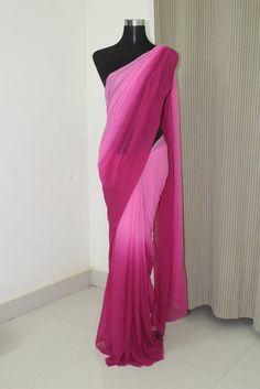 Georgette saree – Page 3 – Akrithi Simple Saree Designs, Half Saree Designs, Simple Sarees, Blouse Designs, Dress Designs, Pure Georgette Sarees, Chiffon Saree, Saree Dress, Sari