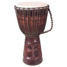 Christian Cross Djembe Drum 10 X 20. Special carving produced for World Wide Drums customers paticipating in praise services. This drum will ship fully assembled with top grade goat skin drum head and tuned with non stretch lacing.Djembe drums work very well in the music ministry. They produce a wide range of tones making them very versatile. The Djembe volume is easily controlled to adjust to different volume situations. Djembes are easy to handle, move around and store. No special stands…