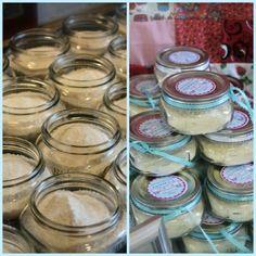 bridal shower favors: DIY bath salts in mini mason jars