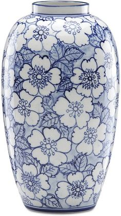 Floral Vase, blue and white, blommig vas i blått och vitt. Floral Vase, blue and white, floral vase in blue and white. Pottery Painting Designs, Pottery Designs, Blue And White Vase, White Vases, Navy Blue, Porcelain Jewelry, Porcelain Ceramics, Fine Porcelain, Blue Pottery