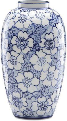 Floral Vase, blue and white, blommig vas i blått och vitt. Floral Vase, blue and white, floral vase in blue and white. China Painting, Ceramic Painting, Ceramic Vase, Pottery Painting Designs, Pottery Designs, Blue And White Vase, White Vases, Navy Blue, Blue Pottery