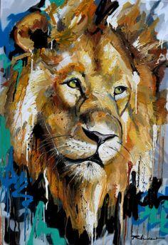 African Art Paintings, Animal Paintings, Animal Drawings, Lion Painting, Painting & Drawing, Jhon Green, Thai Art, Lion Art, Wildlife Art
