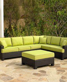 Riviera Outdoor Patio Furniture in Kiwi    2 Loveseats: 57W x 38D x 35H (each)  Corner Unit: 38W x 38D x 35H; Armless Chair: 26W x 38D x 35H  Ottoman: 36W x 36D x 19H dbaptiste