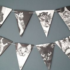 Cat Bunting, Cat Garland, Cat Decoration, Up Cycled, Retro, Black and White, Kitten Bunting, Book Bunting, Cat Decor, Party Decoration