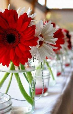 Wedding Centerpieces Summer Gerbera Daisies Ideas For 2019 Blue Red Wedding, Red And White Weddings, Red Wedding Flowers, Red And White Wedding Decorations, Wedding Colors, Wedding Bouquets, Wedding Dresses, Daisy Centerpieces, White Centerpiece